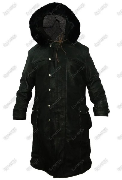 Black Leather Coat With Hoodie for mens Faux Fur