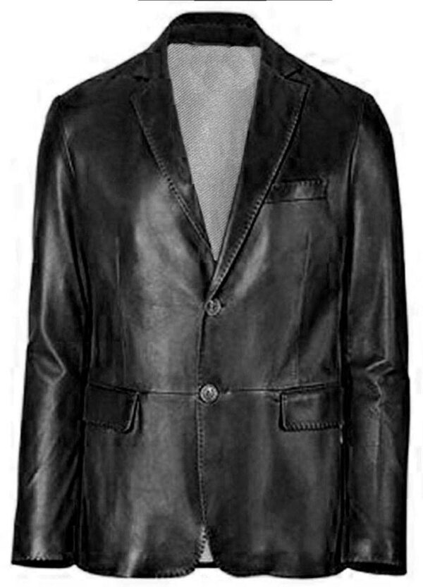 Black Slim fit Two Button Genuine Leather Coat For Men