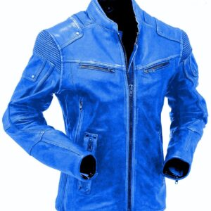 Blue Cafe Racer Leather Jacket For Men