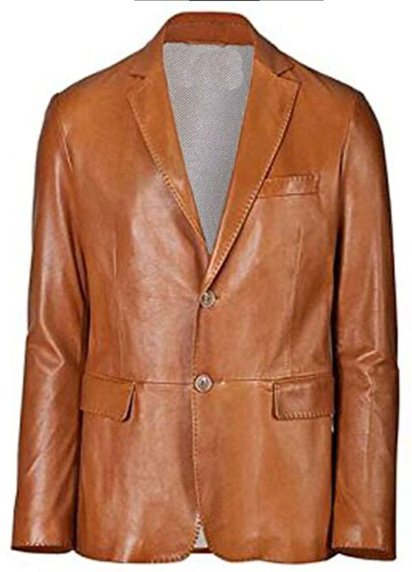 Brown Slim fit Two Button Genuine Leather Coat For Men