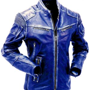 Dark Blue Cafe Racer Leather Jacket For Men
