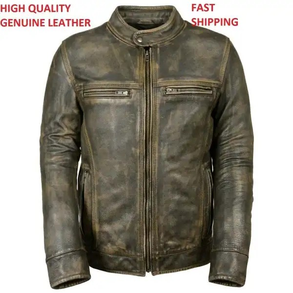 Distressed Waxed Mens Vintage Biker Retro Motorcycle Cafe Racer Leather Jacket