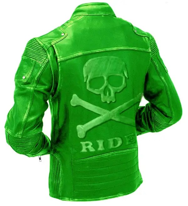 Green Motorcycle Vintage Leather Jacket With Skull