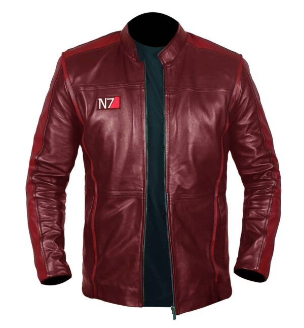 Men N7 Red Biker Leather Jacket