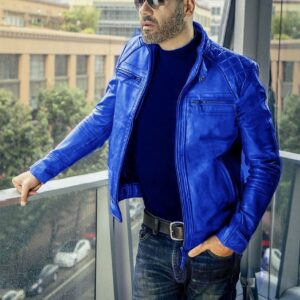 men's blue leather jacket