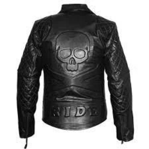 Men's Black Classic Diamond Motorcycle Quilted Leather Jacket With Skull