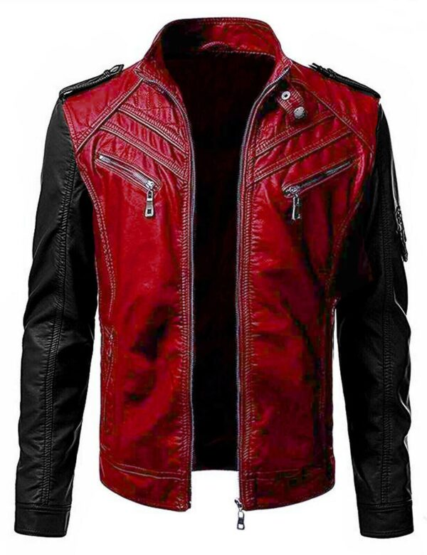 Black Red Motorcycle Cafe Racer Vintage Classic Leather Jacket