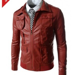 Mens Multi Pocket Style Slim Fit Red Leather Jacket