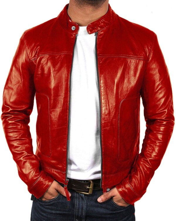 Red Biker Motorcycle Cafe Racer Premium Quality Leather Jacket
