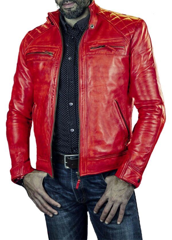 Red Cafe Racer Vintage Style Biker Leather Jacket