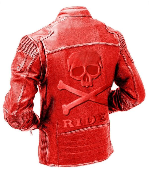 Red Classic Biker Cafe Racer Leather Jacket with Skull