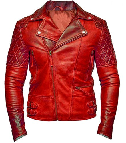 Red Classic Biker Motorcycle Vintage Style Leather Jacket
