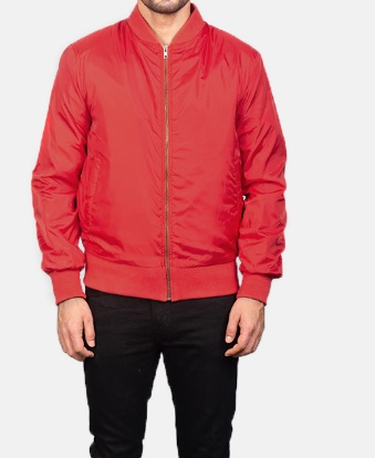 Red Bomber Style Leather Jacket For Men With rib Collar
