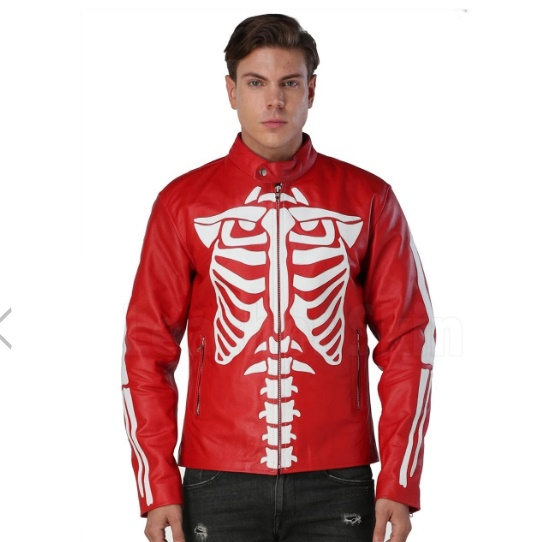 Red Leather Jacket For Men with white Skeleton on back
