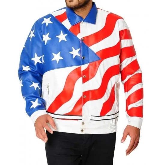 American Flag White Cafe Racer Leather Jacket