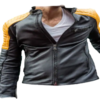 Black And Yellow Quilted Biker Leather Jacket For Men