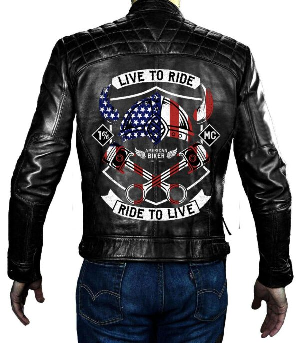 Cafe Racer Black Live to Ride Ride to Live Jacket