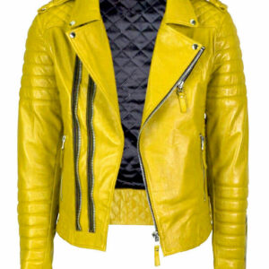 Motorcycle Riding Cafe Racer Yellow Leather Jacket