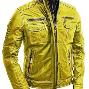 Yellow Vintage Motorcycle Brando Style Leather Jacket