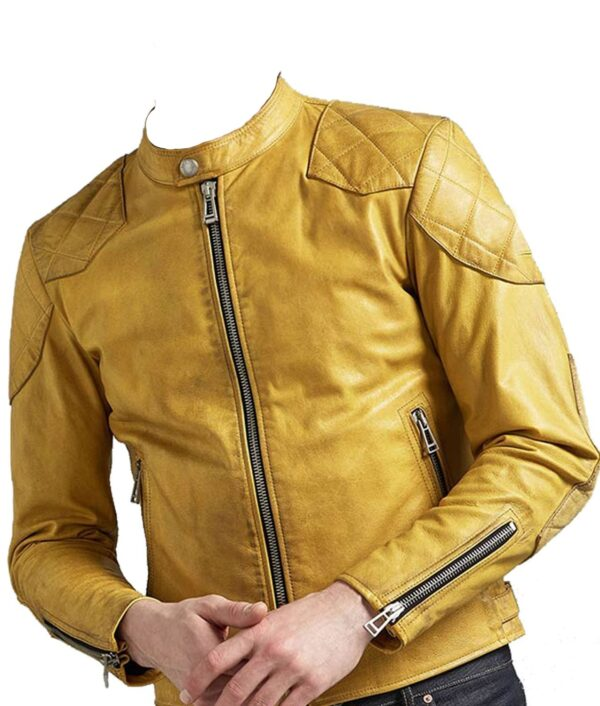 Quilted Design Cafe Racer Yellow leather Jacket For Men