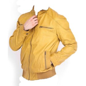 Racer Yellow Bomber leather Jacket For Men