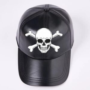Black Leather Baseball Cap With Skull