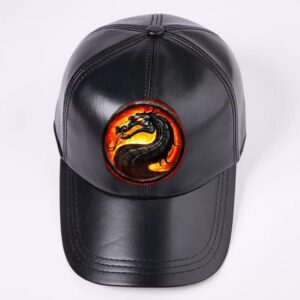 Black Leather Baseball Cap With Dragon
