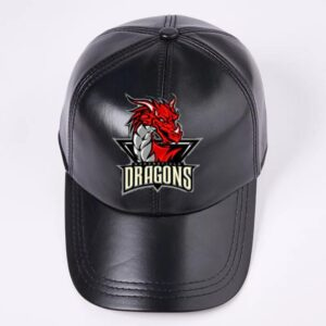 Black Baseball Leather Cap With Dragon