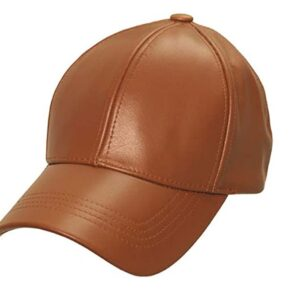 Light Brown Genuine Leather Baseball Cap