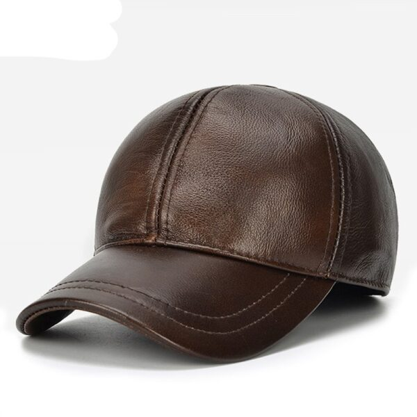 Brown Vintage Leather Baseball Cap