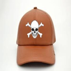 Men Tan Leather Baseball Cap With Skull