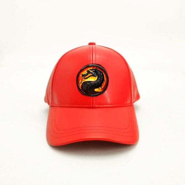 Red Leather Baseball Cap With Dragon