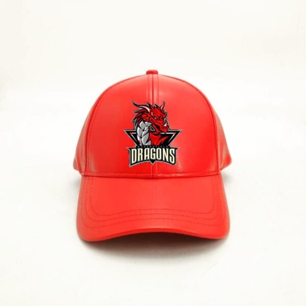Red Baseball Leather Cap With Dragon