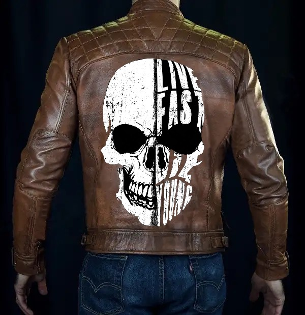Cafe Racer Brown Leather Jacket With Skull