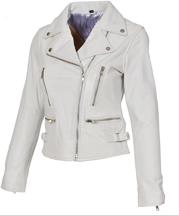 White Women Leather Jacket With Multiple Pockets