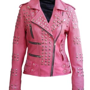 Women Pink Studded Studs Genuine Leather Jacket