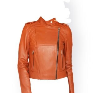 Women Orange Leather Racer Jacket