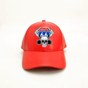 Red Route 66 Leather Cap