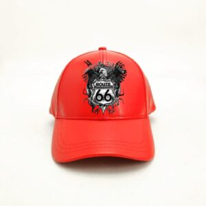 Red Baseball Route 66 American Leather Cap