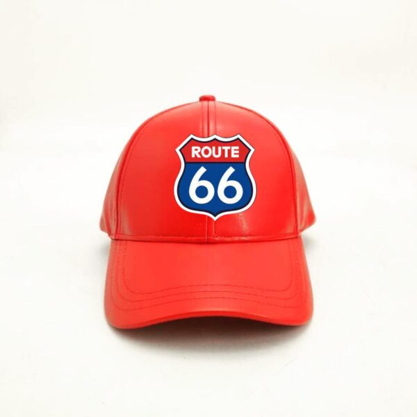 Red Baseball Route 66 Leather Cap