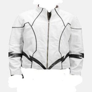 White Leather Motorcycle Jacket For Boys